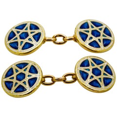 1920s Blue Enamel Star of David 18 Karat Yellow Gold Cufflinks