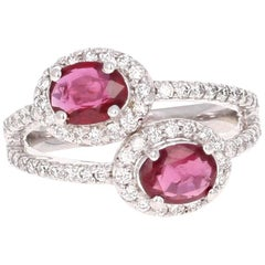 GIA Certified 2.09 Carat Ruby Diamond Two-Stone Engagement Ring