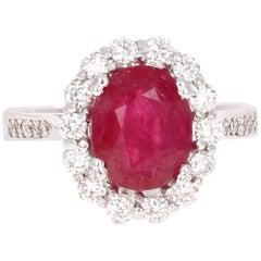 3.98 Carat Ruby Diamond Engagement Ring