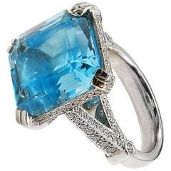 14 Carat Square Cut Aquamarine Platinum Micro Pave Diamond Ring