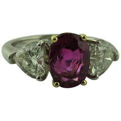 GIA 2.81ct Oval unheated BURMA Ruby and Heart Shaped Diamond ring in Platinum