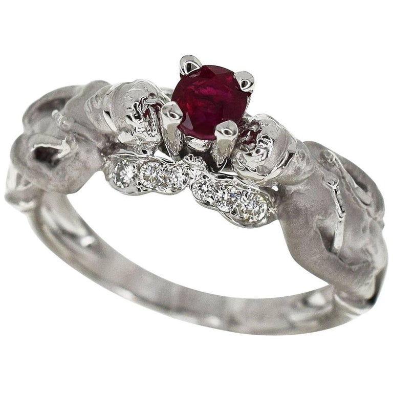a2927f19839d Carrera y Carrera Ruby Diamond Angel Motif Ring 18 Karat White Gold US 6.5  For Sale