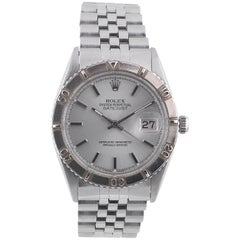 Rolex White Gold Stainless Steel Datejust Turn-O-graph Self-Winding Wristwatch