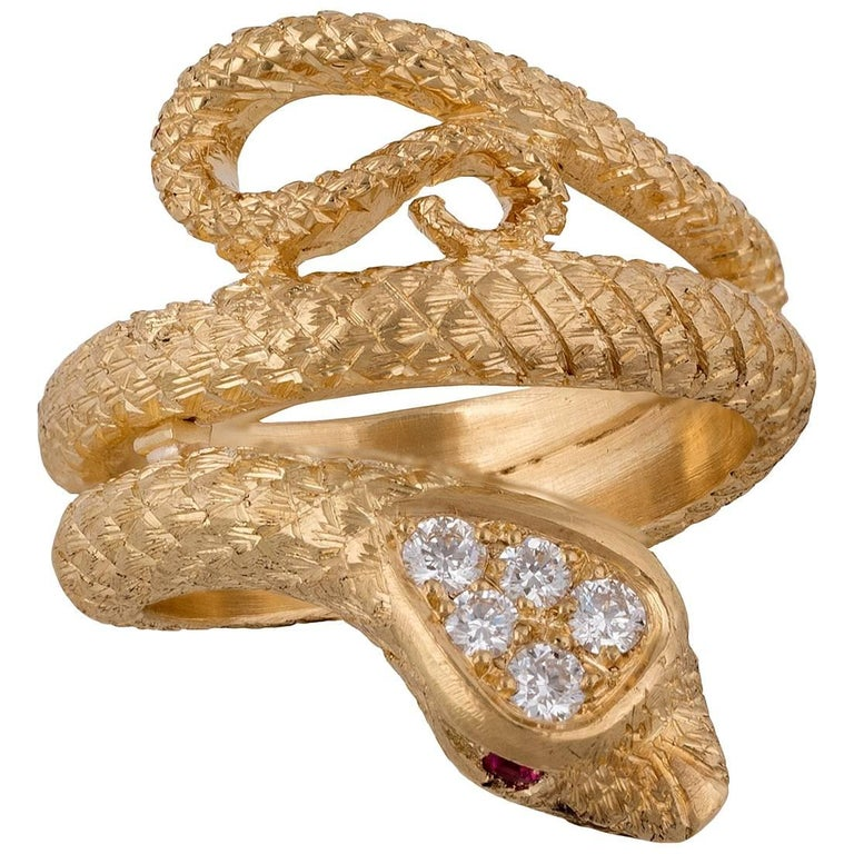 Diamond, Rubies and Gold Snake Ring