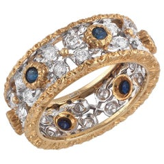 Buccellati Gold Sapphire and Diamonds Band Ring