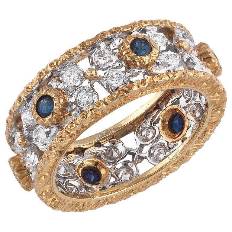 Buccellati Gold Sapphire and Diamonds Band Ring