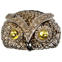 Owl Silver Brown Diamond Band Ring