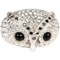 Owl Silver Black Diamond Band Ring