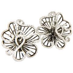 Sea Anemone White and Black Diamond Flower Earrings in White Gold 18K