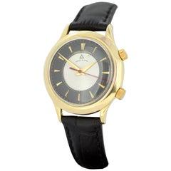 Jaeger Lecoultre 18 Karat Gold Wrist Alarm Manual Winding Wristwatch circa 1960s