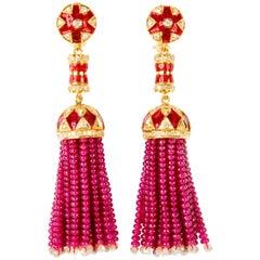 Ruby Diamond Tassel Drop Earrings