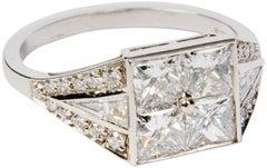 Engagement Diamond Platinum Art Deco Style Ring