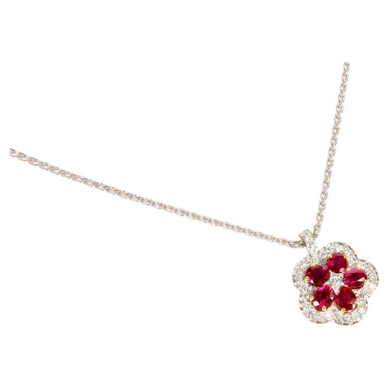 Ruby diamond flower pendant necklace for sale at 1stdibs ruby diamond flower pendant necklace for sale aloadofball Gallery
