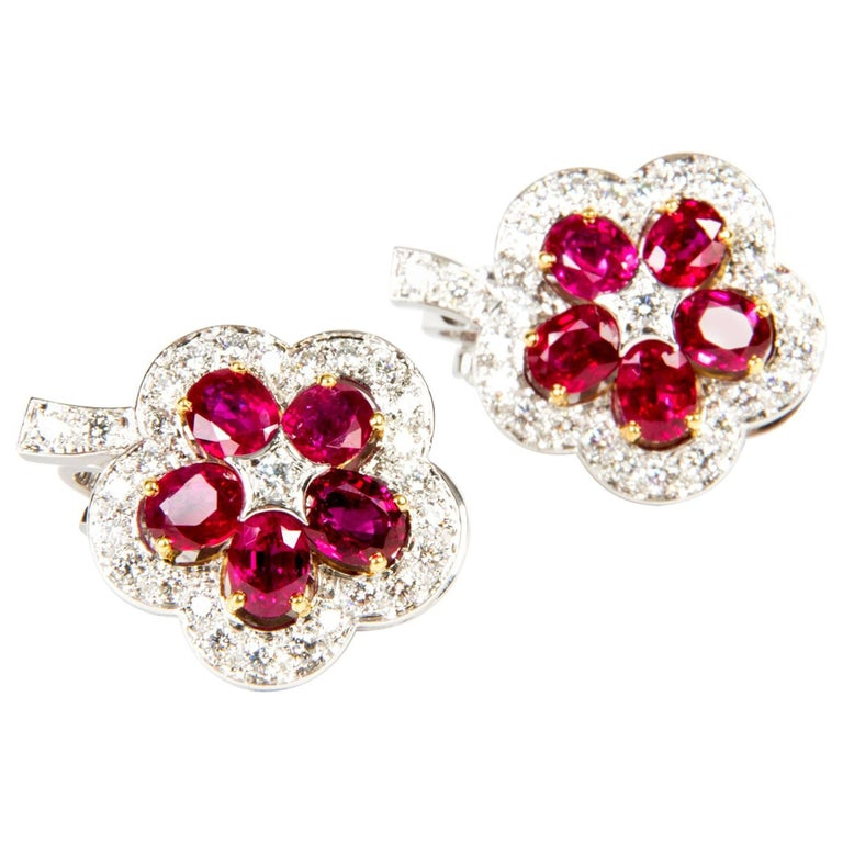 Ruby Diamond Flower Earrings