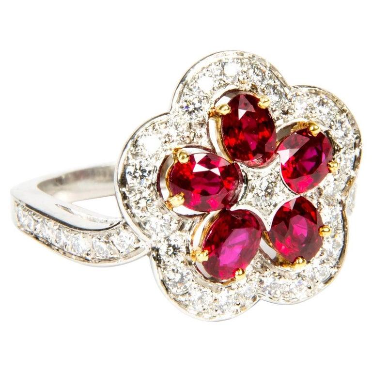 Ruby Diamond Flower Cluster Ring