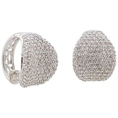 Diamond Cluster White Gold Earrings