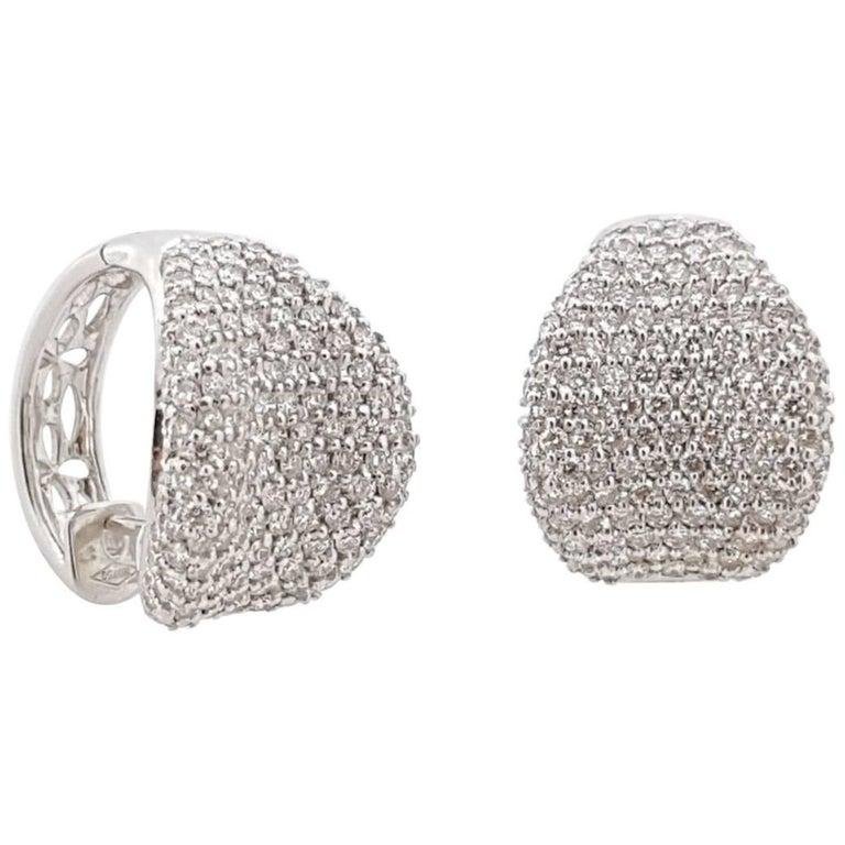 Diamond Cluster White Gold Earrings