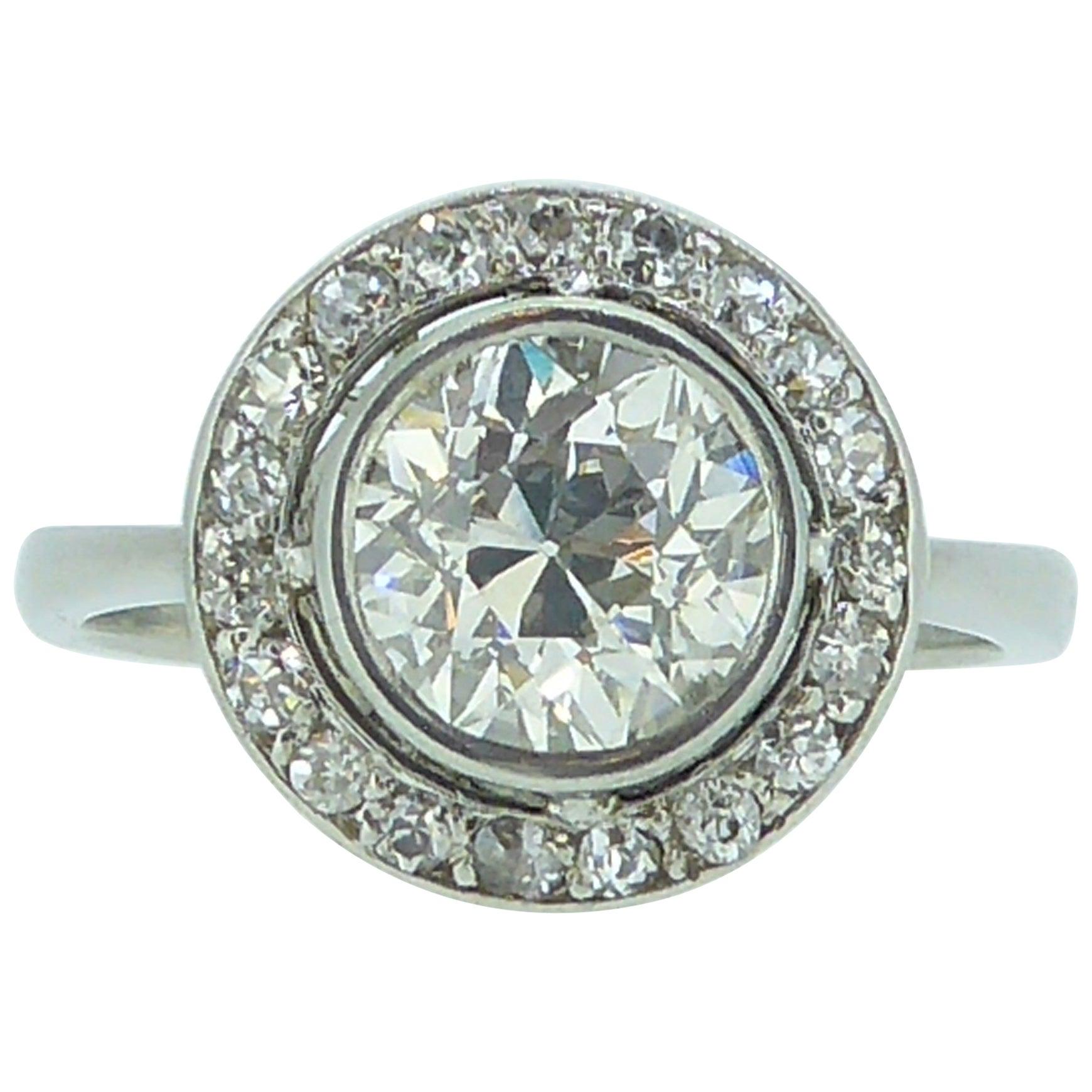 Art Deco 1.54 Carat Old European Halo Diamond Cut Engagement Ring