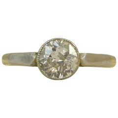 Art Deco Diamond Engagement Ring, Solitaire Old European Cut, 0.67 Carat