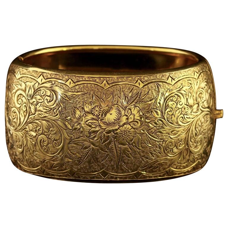 Antique Victorian Gold Silver Bangle, circa 1900