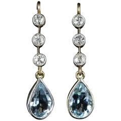 Antique Victorian Aquamarine Diamond Earrings 18 Carat Gold, circa 1900