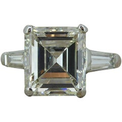 Certified 3.68 Carat Diamond Ring, Emerald Cut Solitaire, Platinum, Anchor Cert
