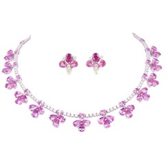 Ella Gafter Pink Sapphire and Diamond Flower White Gold Necklace Earrings Set
