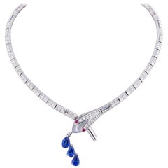 Ella Gafter Blue Ceylon Sapphire and Diamond Snake Choker Necklace