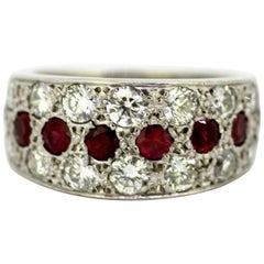 Platinum Ladies Ring with Ruby and Diamonds, circa 1970s