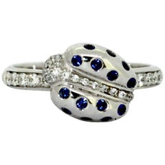 Faraone, 18 Karat Gold Ladies Ladybird Ring with Diamonds and Blue Sapphire