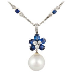 Ella Gafter Blue Ceylon Sapphire Diamond Pendant Chain Necklace with Pearl