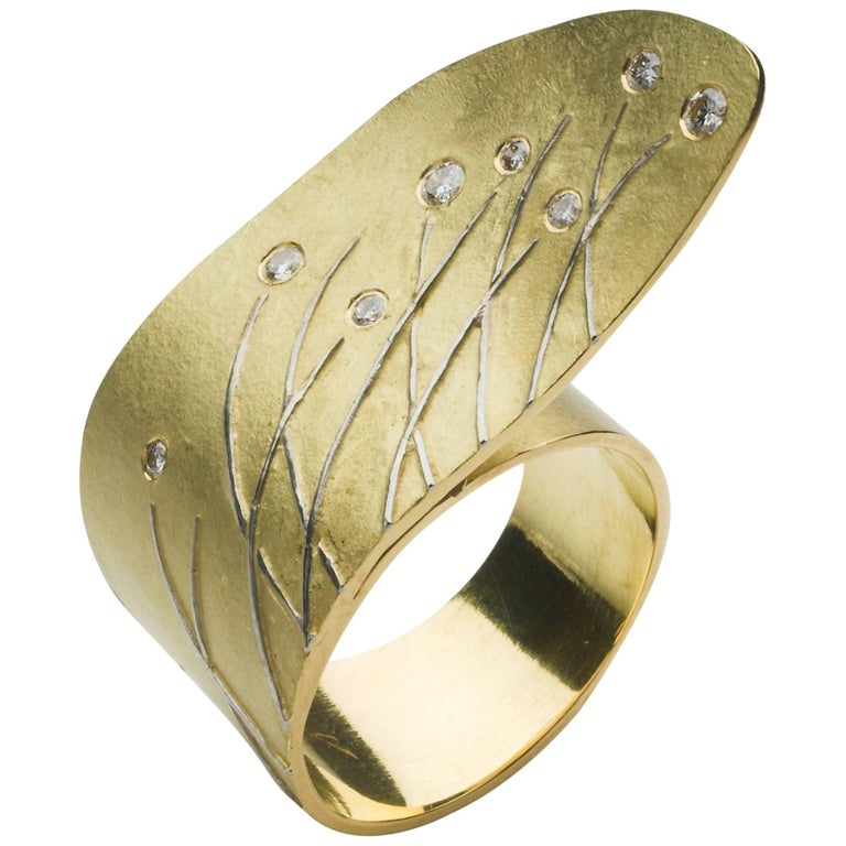 Annabel Eley Yellow Gold, Platinum, Diamond Cocktail Ring