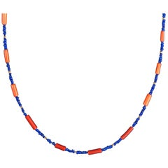 Coral Shell and Lapis Lazuli Necklace