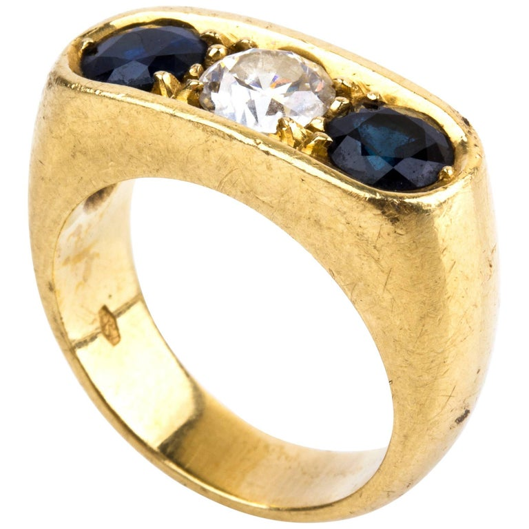 Sapphire and Diamond Gold Ring