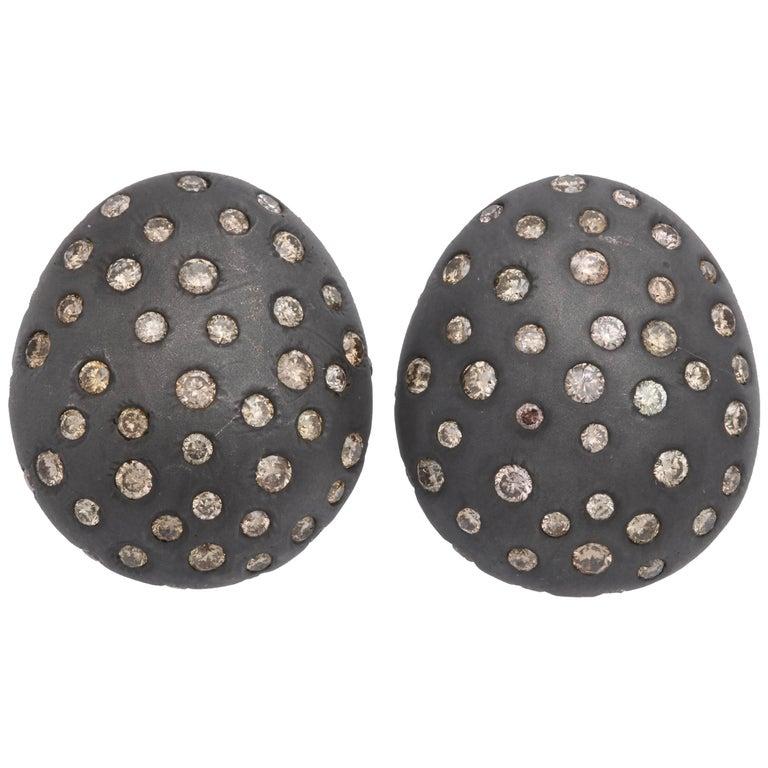Rebecca Koven Silver Diamond Pebble Earrings