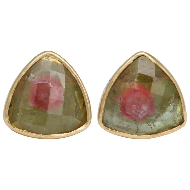 Rebecca Koven Gold Watermelon Tourmaline Stud Earrings