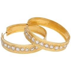 Rebecca Koven Gold and Portrait Diamond Hoop Earrings