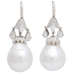 Rebecca Koven South Sea Pearl Diamond Tulip Earrings