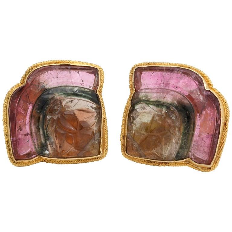 Rebecca Koven Watermelon Tourmaline Lotus Flower Earrings