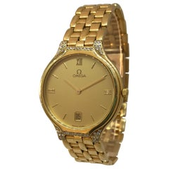 Omega Deville Yellow Gold and Diamond Date Display Bracelet Lady's Watch