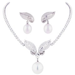 Ella Gafter Diamond and South Sea Pearl White Gold Necklace Earrings Set