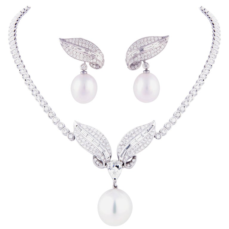 Ella Gafter Diamond and South Sea Pearl Necklace Earrings Set