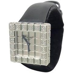 Chopard Ice Cube 18 Karat White Gold and Diamond Black Satin Band Ladies Watch