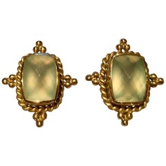 1980s Mazza 27 Carat Green Prehnite Gold Clip Earrings