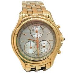Cartier Cougar Yellow Gold Quartz Chronograph Silver Dial Bracelet Men's Watch