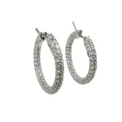 18 Karat White Gold Full Pave Diamond Hoop Earrings