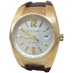 Bulgari Ergon Yellow Gold Silver Dial Brown Leather Band Automatic Men's Watch