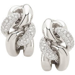Classic Groumette Earrings 18 Karat White Gold and Diamonds