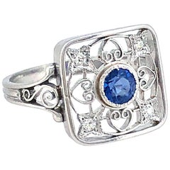 .33 Carat Sapphire Diamond Antique Engagement Fashion Ring Platinum