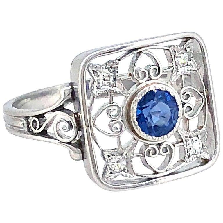 .33 Carat Sapphire Diamond Antique Engagement Fashion Ring Platinum